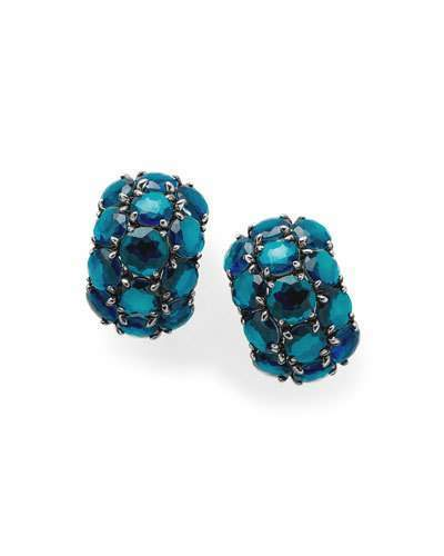 Ippolita 925 Rock Candy Wonderland Cluster Omega Earrings In Frost