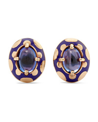 Alice Cicolini Candy 14 Karat Gold And Enamel Tanzanite Earrings