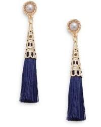 Cara Faux Pearl Top Tassel Earrings