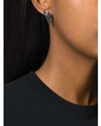 Nikos Koulis Geometric Sapphire And Diamond Earrings
