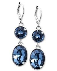Givenchy Earrings Silver Tone Swarovski Denim Blue Crystal Double Drop Earrings