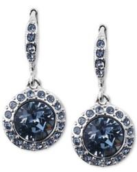 Givenchy Earrings Silver Tone Swarovski Denim Blue Glass Stone Drop Earrings