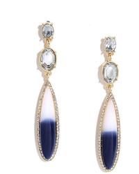 LuLu*s Star Quality Navy Blue Rhinestone Earrings