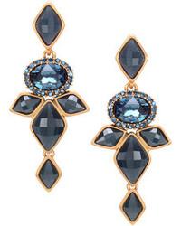 Oscar de la Renta Marquise Resin Drop Clip On Earrings Navy Blue