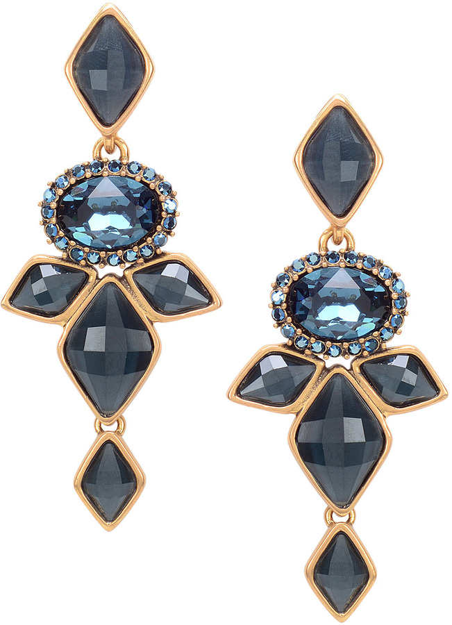 Marquise Resin Drop Clip On Earrings Navy Blue