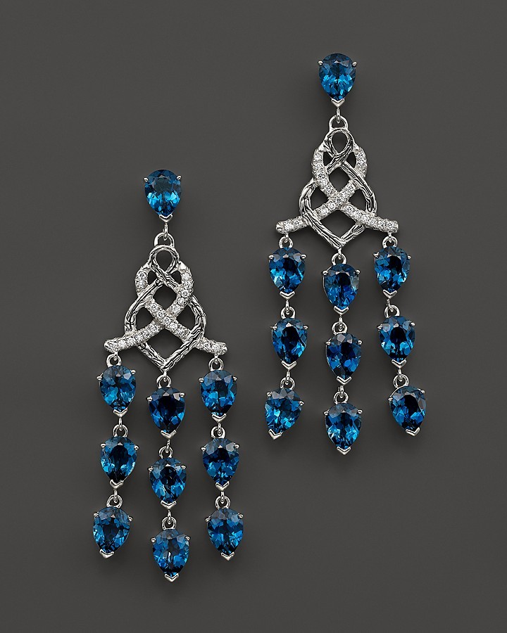 John hardy sterling silver classic chain chandelier earrings with john hardy sterling silver classic chain chandelier earrings with london blue topaz and diamonds aloadofball Image collections