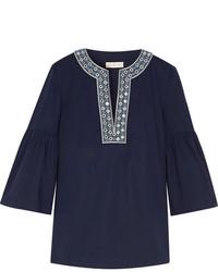 Tory Burch Arianna Embellished Stretch Cotton Poplin Blouse Midnight Blue