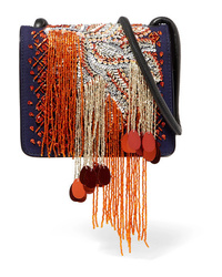 Dries Van Noten Embellished Canvas And Patent Leather Shoulder Bag