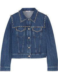 Embellished denim jacket mid denim medium 1251804