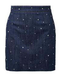Miu Miu Crystal Embellished Denim Mini Skirt