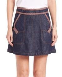 See by Chloe Embellished A Line Denim Skirt