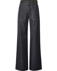 Carolina Herrera Button Embellished High Rise Wide Leg Jeans