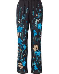 Prada Embellished Silk Chiffon Straight Leg Pants