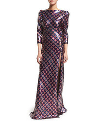 Marc Jacobs 34 Sleeve Embellished Open Back Gown Navy