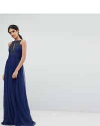 Little Mistress Tall Applique High Neck Maxi Dress
