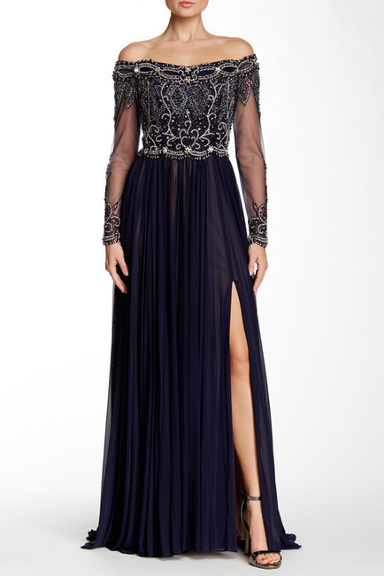 hot sale online 73fc8 925a2 $965, Terani Couture Long Sleeve Embellished Gown