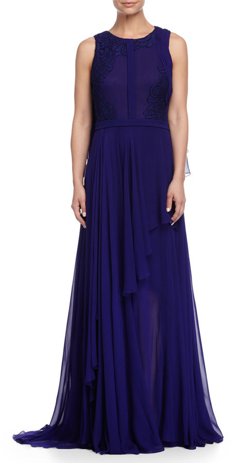 J. Mendel Sleeveless Lace Embellished Cape Gown Imperial Blue ...