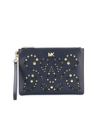 Navy Embellished Leather Clutch