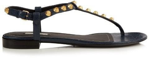 596e1b928 Balenciaga Arena Stud Embellished Leather Flat Sandals