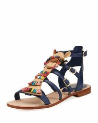 Kate Spade New York Sahara Embellished Flat Gladiator Sandal Navy