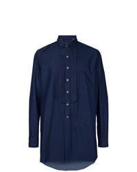 Navy Embellished Long Sleeve Shirt