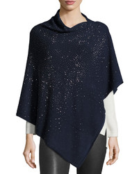 Neiman Marcus Embellished Asymmetric Poncho Top Navy