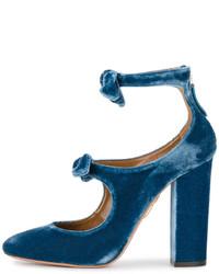Aquazzura Blue Velvet Sandy Bow 115 Heels