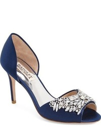 Navy Embellished Satin Pumps