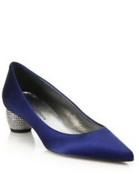 Stuart Weitzman Poco Satin Point Toe Pumps