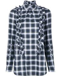 No.21 No21 Ruffle Detail Embellished Plaid Shirt