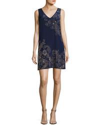 Glitterati embellished paisley silk shift dress medium 5054696