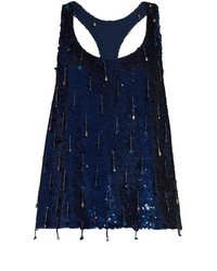Ashish Sequin Embellished Scoop Neck Sleeveless Silk Top