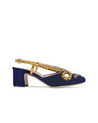Gucci Velvet Pump With Bat And Crystals