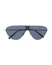 Stella McCartney Aviator Style Crystal Embellished Silver Tone And Acetate Sunglasses