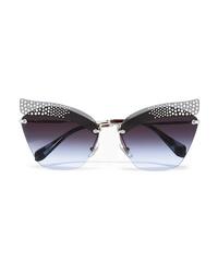 Miu Miu Crystal Embellished Cat Eye Silver Tone Sunglasses