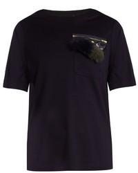 Muveil Embellished Cat Appliqu Jersey T Shirt