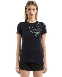 Valentino Heart Embellished Cotton Jersey T Shirt
