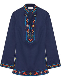 Tory Burch Tory Appliqud Embellished Cotton Tunic Navy
