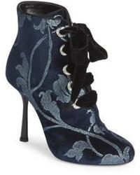Lanvin Embellished Velvet Booties
