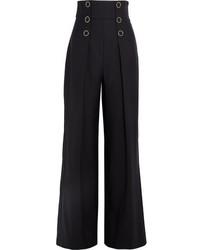 Karl Lagerfeld Embellished Twill Wide Leg Pants Navy
