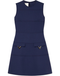 Valentino Embellished De Poudre Wool Dress