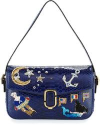 Marc Jacobs J Marc Aged Python Shoulder Bag Wembroidered Patches Dark Blue
