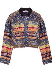 Navy Embroidered Bomber Jacket