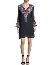 Johnny Was Tanyah Tie Neck Embroidered Dress W Slip