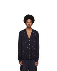 Gucci Navy Wool G Dot Cardigan