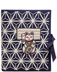 Olympia le tan manekineko embroidered note book clutch medium 521056