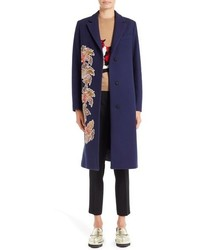 MSGM Floral Embroidered Wool Blend Coat
