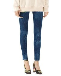 Embroidered marbled denim skinny pant medium 5207453