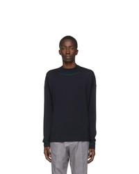 Jil Sander Blue Wool Mock Neck Sweater
