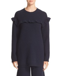 RED Valentino Embroidered Ruffle Trim Wool Sweater
